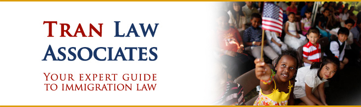 Header Photo For Our Criminal Immigration Lawyer Showing Children With An American Flag - Tran Law Associates